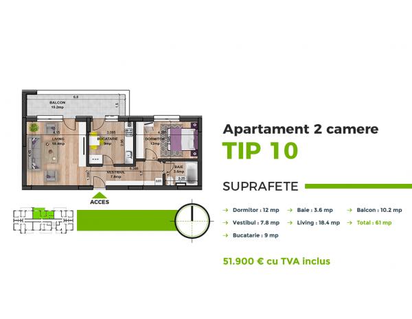 Apartament 2cam,La  Cheie,spatios  ,Bloc Nou